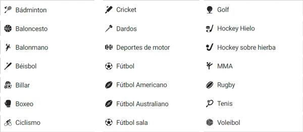 Sportium deportes disponibles apuestas en Colombia