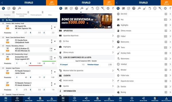 Rivalo apuestas Colombia version móvill