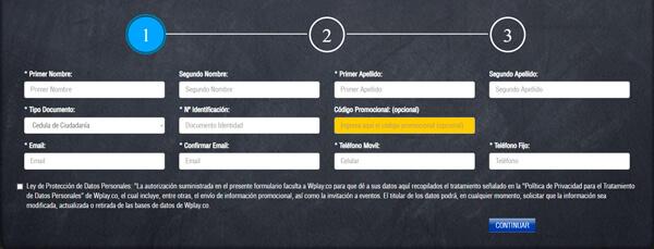 Wplay apuestas Colombia - Formulario de registro