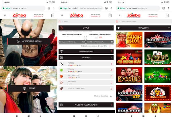 Zamba apuestas Colombia version móvill