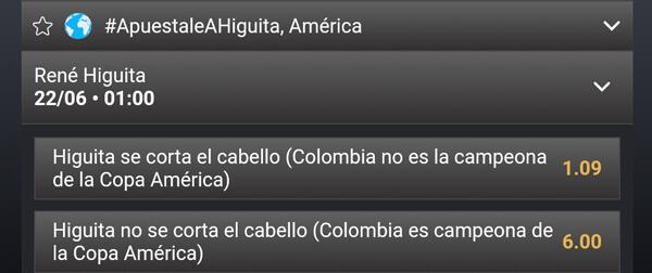 Wplay cuotas de apuestas para Colombia ganador final para la Copa America 2019