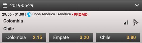 Wplay cuotas de apuestas Copa America 2019 Colombia-Chile ganador
