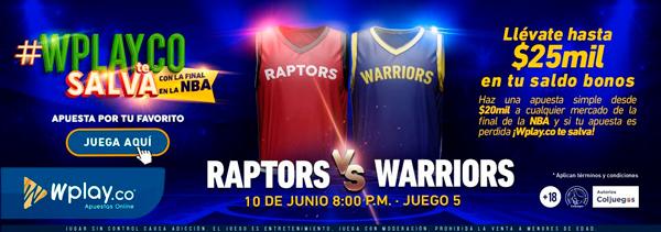 Wplay.co Final NBA Promoción Raptors vs. Warriors
