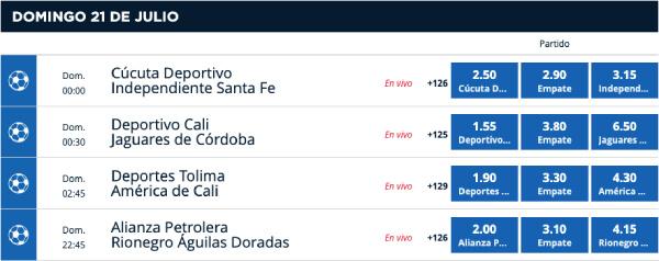 Cuotas de apuestas Liga Aguila - Ganador del encuentro csas de apuestas en Colombia