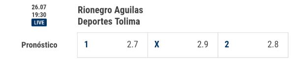 Rivalo cuotas de apuestas de la Liga Aguila Fecha 3 Aguilas Doradas vs. Deportes Tolima