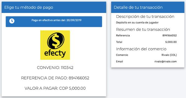 Efecty Colombia Orden de Pago Casa de Apuestas Rivalo