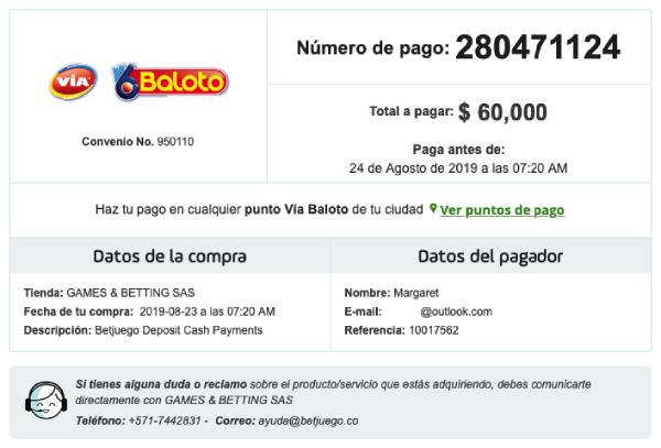 Via Baloto Colombia Orden de Pago Casa de Apuestas BetJuego