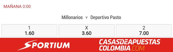 Apuestas Pronosticos Millonarios vs Deportivo Pasto Apuestas Sportium Colombia