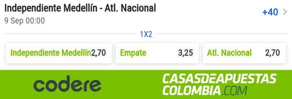 Liga Aguila Fecha 10 - Independiente Medellin vs Atletico Nacional Apuestas Codere Colombia