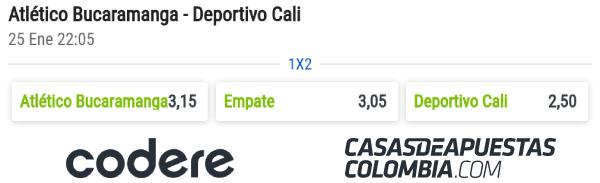 Cuotas de apuestas - Atlético Bucaramanga vs. Deportivo Cali - Liga Águila