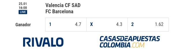 Cuotas de apuestas - Valencia CF vs. FC Barcelona - LaLiga 2019-20