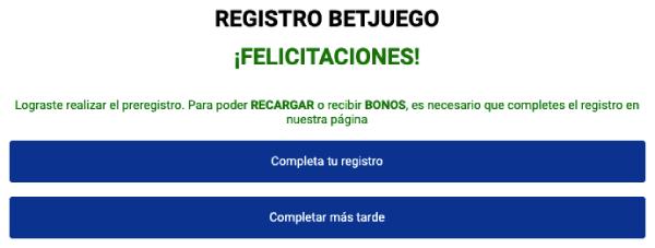 Registro Betjuego - Formulario