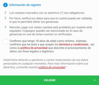 Registro Zamba Colombia - Paso 4
