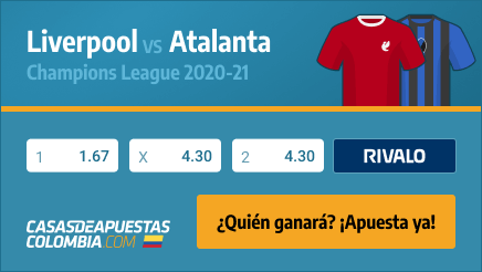 Apuestas Liverpool vs. Atalanta - Champions League 25/11/20