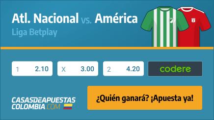 Apuestas Pronósticos Atl. Nacional vs. América Liga Betplay 21/02/21