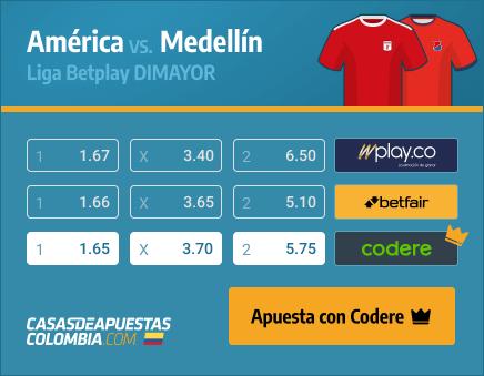 Apuestas Pronósticos América vs. Medellín - Liga Betplay 24/03/21