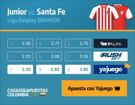 Apuestas Pronósticos Junior vs. Santa Fe - Liga Betplay 27/03/21