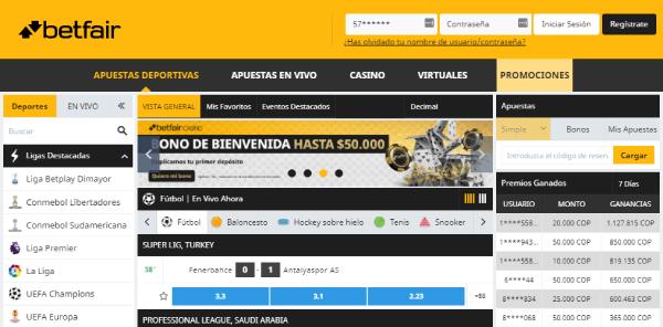 Betfair Colombia - Análsisi de Opinión Homepage