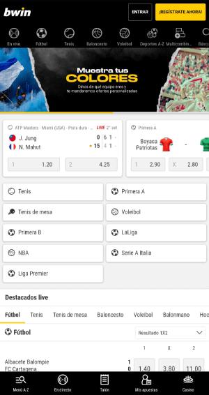 Análisis de Bwin Colombia - App de apuestas deportivas