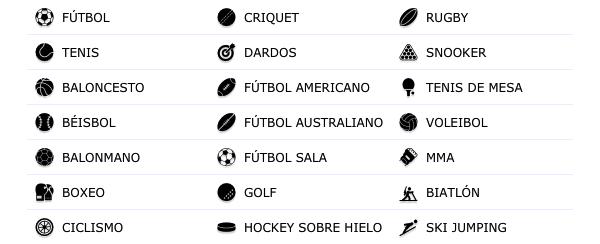 Deportes Disponibles William Hill Colombia - Casas de apuestas en Colombia